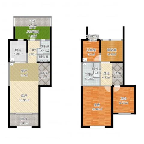 天朗蔚蓝东庭3室4厅2卫1厨153.00㎡户型图