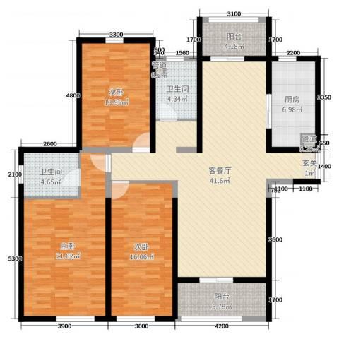 东方米兰国际城3室2厅2卫1厨166.00㎡户型图