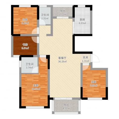 华建雅园4室2厅2卫1厨120.00㎡户型图