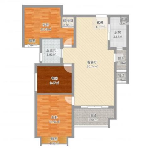 仁恒滨海半岛3室2厅1卫1厨105.00㎡户型图