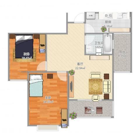 星光苑吕哥(土巴兔)2室1厅1卫1厨83.00㎡户型图