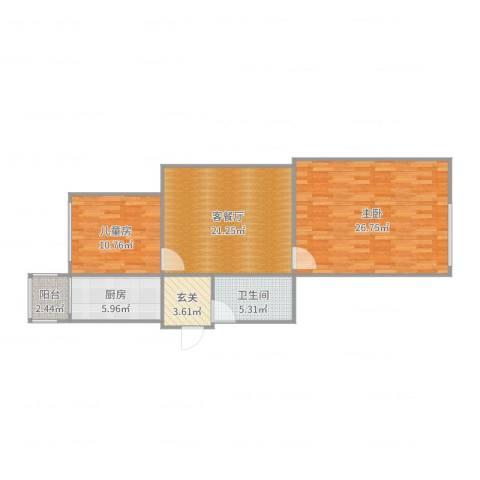 武林公寓2室2厅1卫1厨95.00㎡户型图