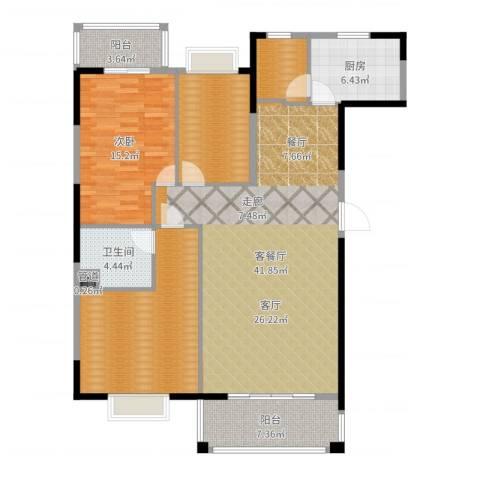 鸿景雅苑1室2厅1卫1厨136.00㎡户型图