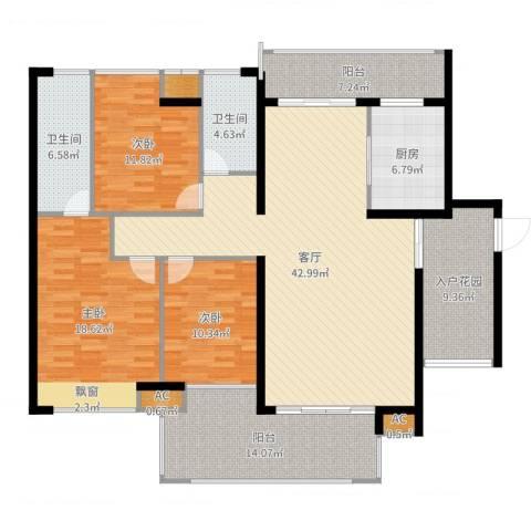 水映山花园3室1厅2卫1厨168.00㎡户型图