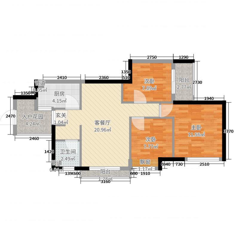 万科里享家78.00㎡T1栋08户型3室3厅1卫1厨