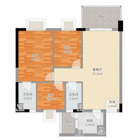 精英名都二期3室2厅2卫1厨95.00㎡户型图