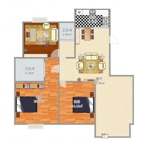 吴越祥庭3室1厅2卫1厨130.00㎡户型图