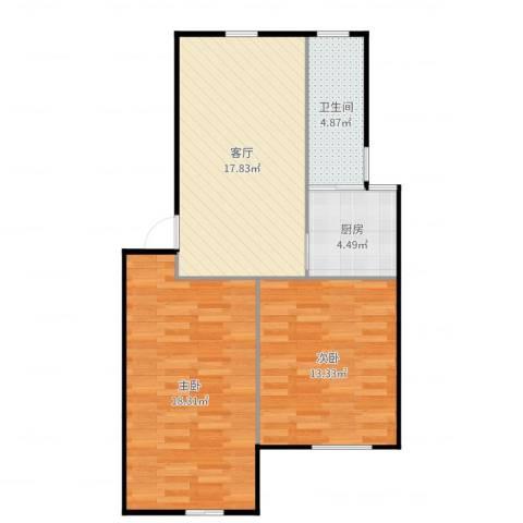 平吉二村2室1厅1卫1厨74.00㎡户型图