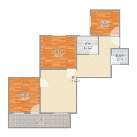 永福楼3室1厅1卫1厨100.00㎡户型图