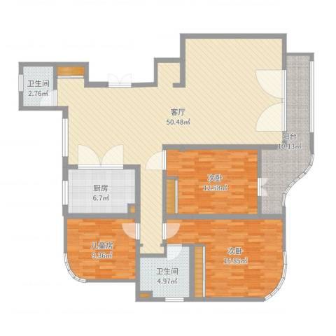 北苑家园绣菊园3室1厅2卫1厨144.00㎡户型图