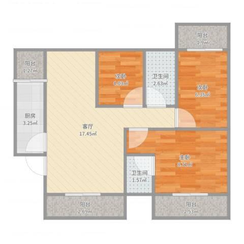 景湖花园3室1厅2卫1厨65.00㎡户型图