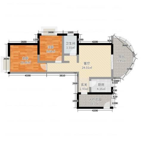 康龙国际广场·龙吟台2室1厅1卫1厨84.00㎡户型图