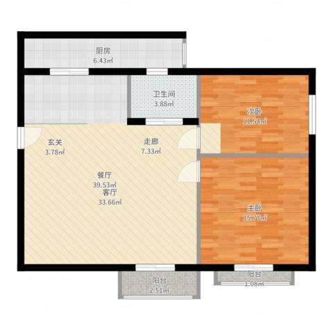 静怡花苑2室1厅1卫1厨101.00㎡户型图