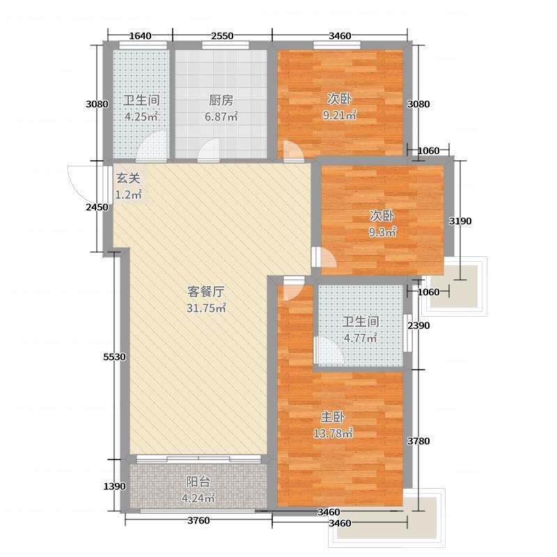 红星国际广场108.97㎡高层5户型3室3厅2卫1厨