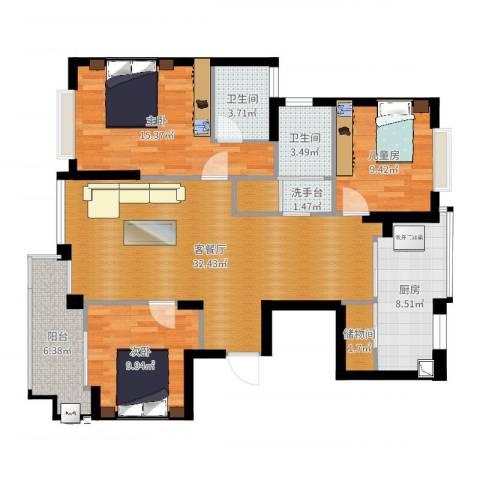 银河湾小区3室2厅2卫1厨117.00㎡户型图