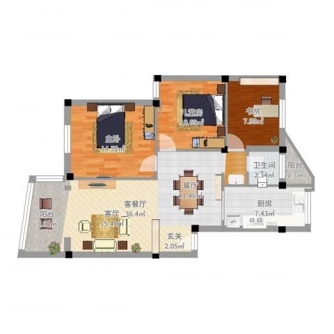 高桥苏家小区3室2厅1卫1厨101.00㎡户型图