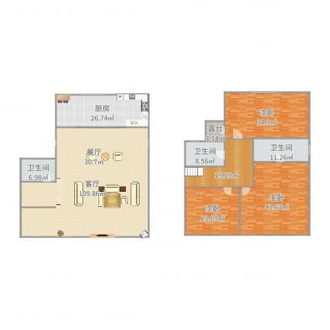 金科王府3室1厅3卫1厨286.50㎡户型图