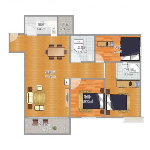 百荣园二期2室2厅2卫1厨114.00㎡户型图
