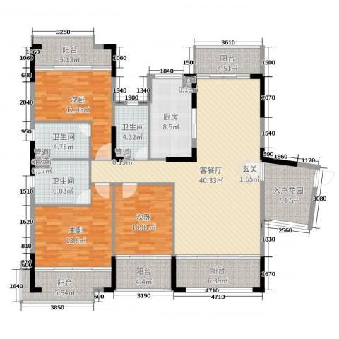 翡翠明珠3室2厅3卫1厨135.29㎡户型图