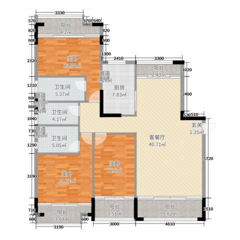 翡翠明珠3室2厅3卫1厨124.78㎡户型图