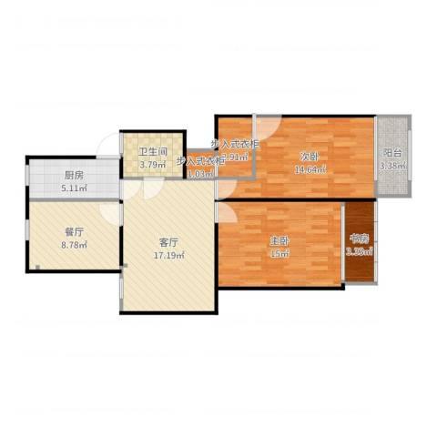 明日新苑3室2厅1卫1厨94.00㎡户型图