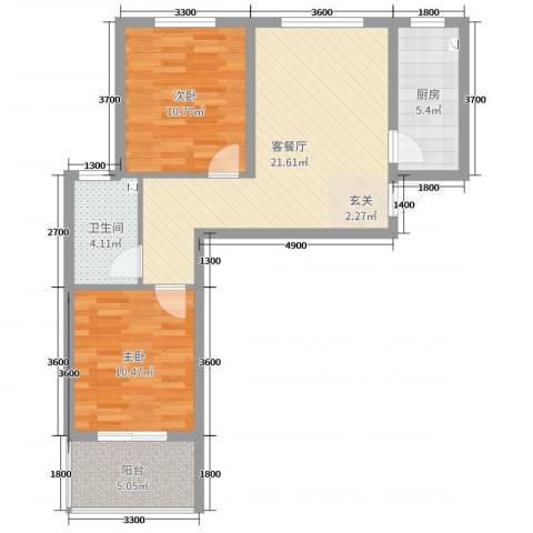 响水湾养老生态城2室2厅1卫1厨78.00㎡户型图