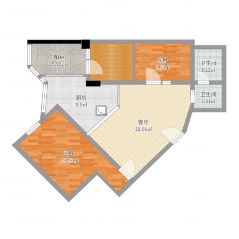 天河金泽大厦2室1厅2卫1厨88.00㎡户型图