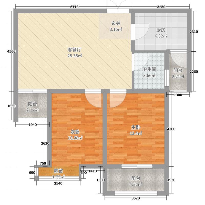 恒达・NAPA溪地93.00㎡户型2室2厅1卫1厨