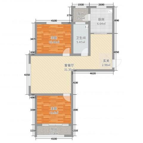 泰丰 时代城二期2室2厅1卫1厨92.00㎡户型图