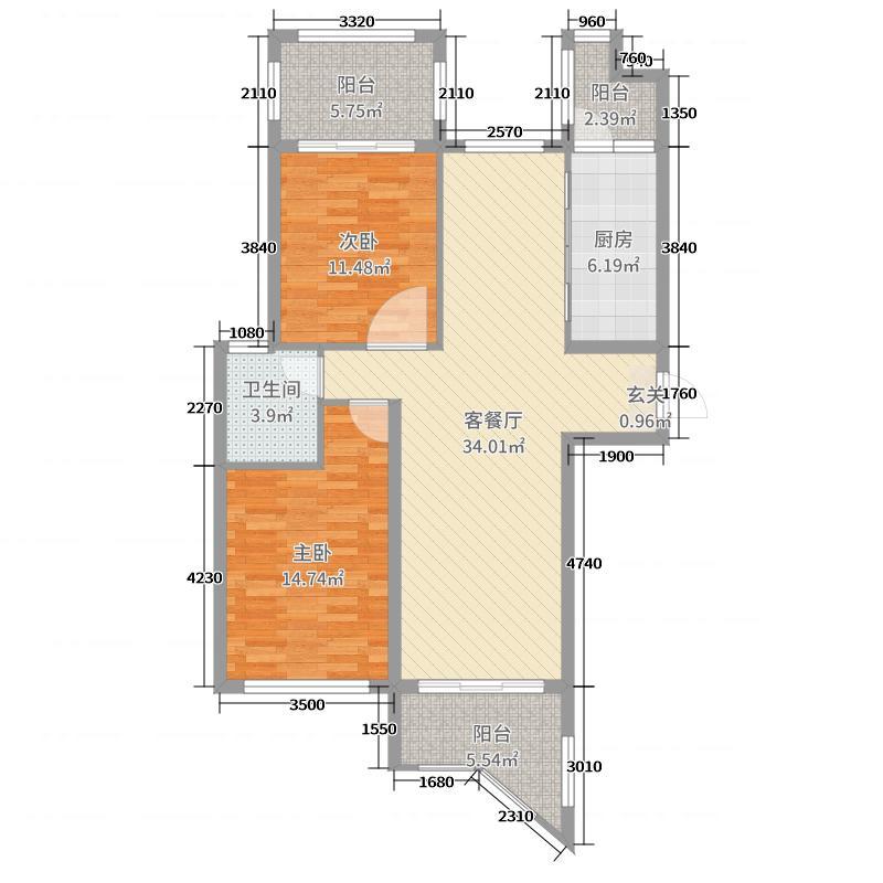 纳爱斯・绿谷庄园105.00㎡绿谷庄园C1库·户型2室2厅1卫1厨