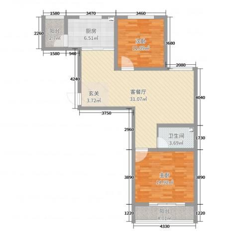 泰丰 时代城二期2室2厅1卫1厨93.00㎡户型图