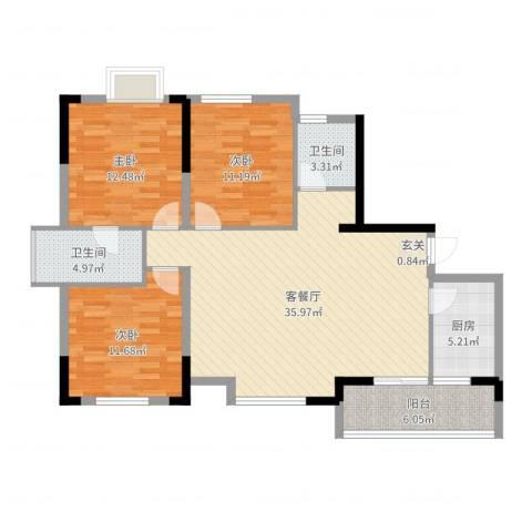 香泉公馆3室2厅2卫1厨114.00㎡户型图
