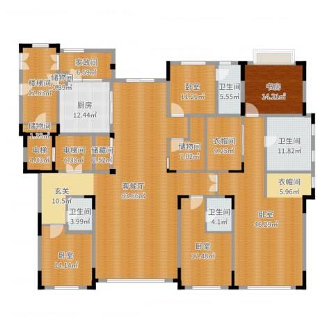 中海紫金苑1室2厅4卫1厨345.00㎡户型图