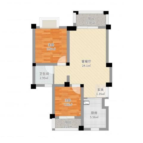 东渡伊顿小镇2室2厅1卫1厨69.00㎡户型图