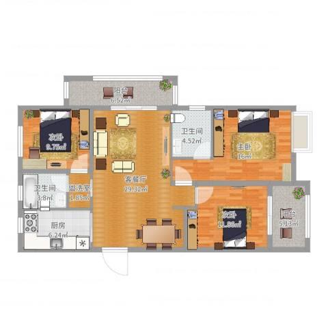 华仪香榭华庭3室2厅2卫1厨119.00㎡户型图