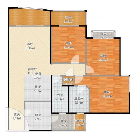 海上明珠园3室2厅2卫1厨156.00㎡户型图
