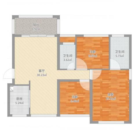天海城市花园3室1厅2卫1厨113.00㎡户型图