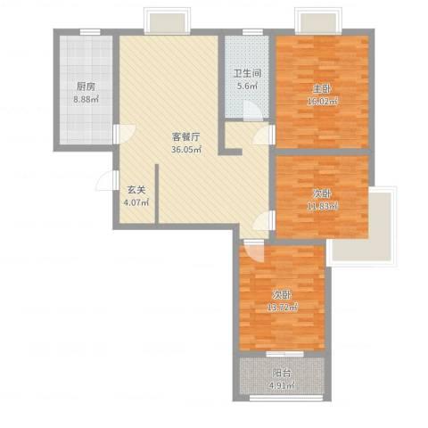 怡美家园3室2厅1卫1厨121.00㎡户型图