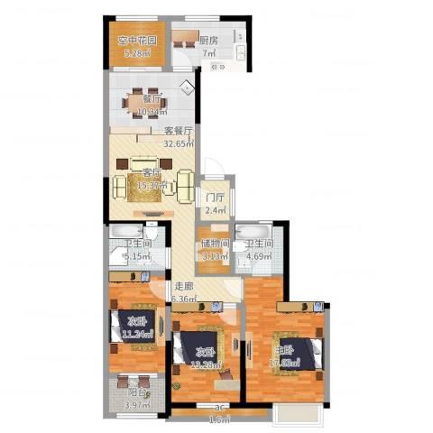 紫金城3室2厅2卫1厨157.00㎡户型图