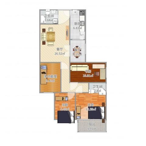 农展南里3室2厅2卫1厨113.00㎡户型图