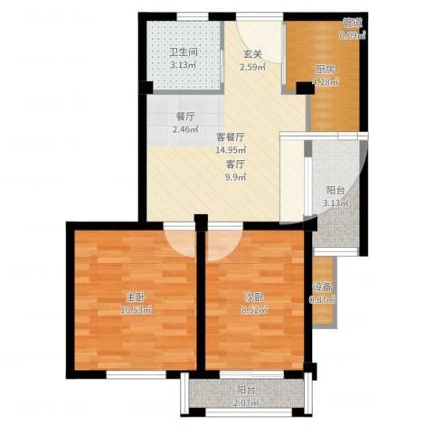 盛泽东方花园2室2厅1卫1厨59.00㎡户型图