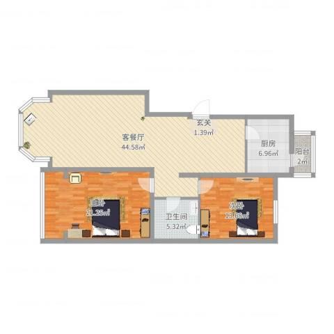 天誉国宝2室2厅1卫1厨117.00㎡户型图