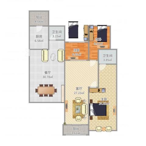碧桂园别墅3室2厅2卫1厨149.00㎡户型图