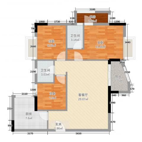 珠江帝景苑悦涛轩4室2厅2卫1厨101.00㎡户型图