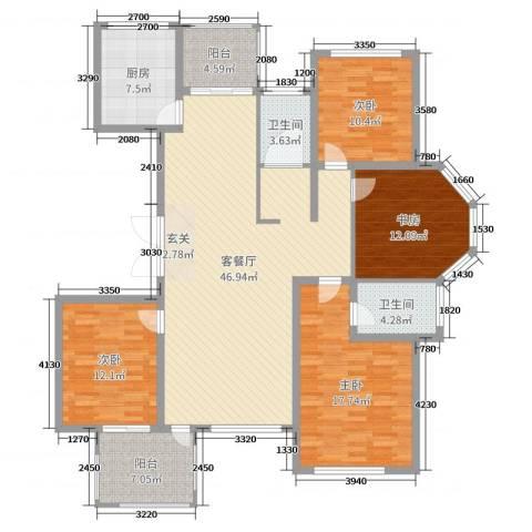 东方世纪城4室2厅2卫1厨158.00㎡户型图