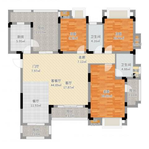 同景国际城恋山3室2厅2卫1厨153.00㎡户型图