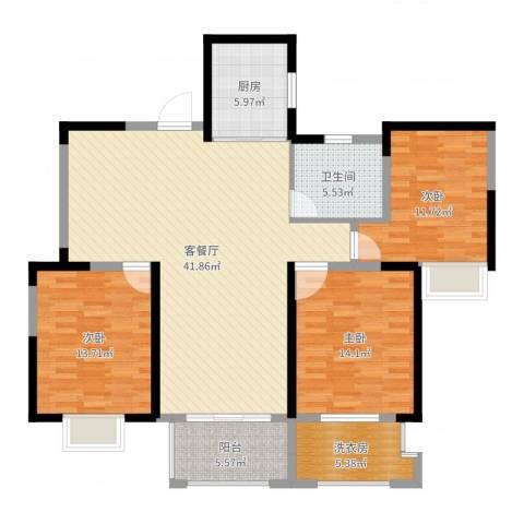 盛和花半里3室2厅1卫1厨130.00㎡户型图