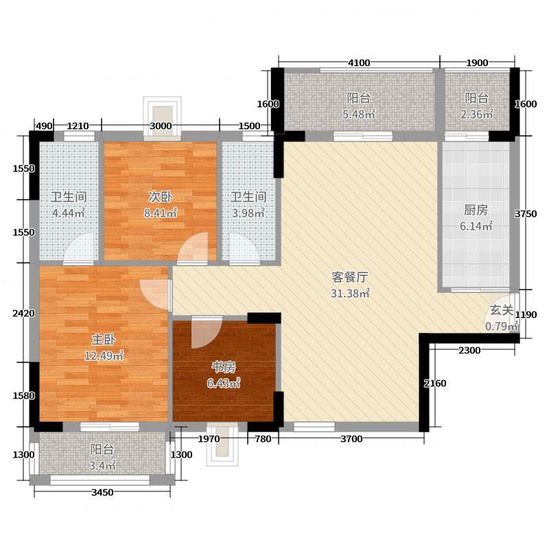 高新花园110.08㎡A户型3室3厅2卫1厨