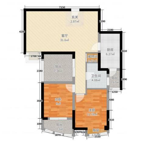 康龙国际广场·龙吟台2室1厅1卫1厨94.00㎡户型图
