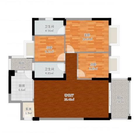 四洲城市经典3室2厅2卫1厨116.00㎡户型图